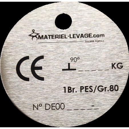 Plaque d'identification pour élingue textile - 1 brin