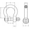 Manille de levage lyre boulonnée Green Pin® - schéma