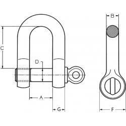 Manille droite HR à visser Green Pin® - schéma