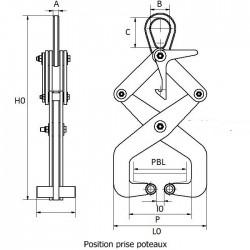 Pince de levage de poteaux béton - schema 2